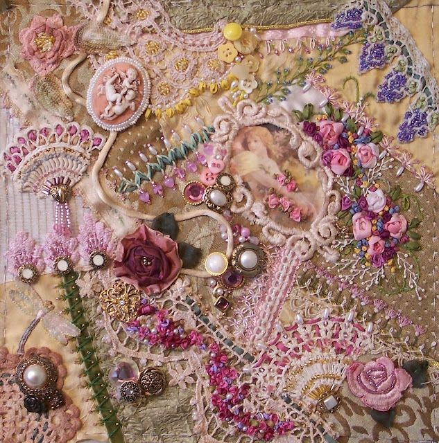 "Pink ""encrusted"" crazy quilting by Gerry Krueger.  What a beauty!"