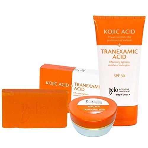 Belo Intensive Kojic & Tranexamic Acid Whitening Set - Body Cream, Face/Neck Cream and Soap
