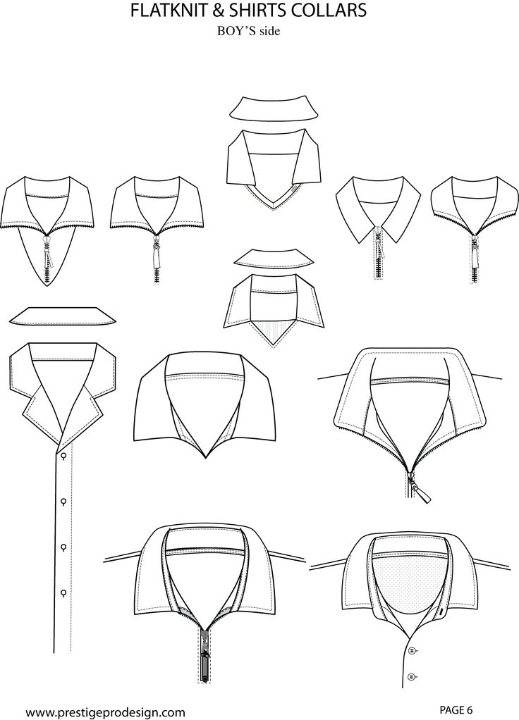 Flat Sketch Collar Illustrator Fashion Templates Free