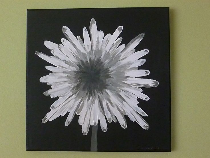 black white and gray modern flower acrylic painting on