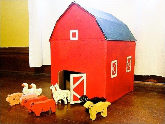 A charming red barn. | 31 Things You Can Make With A Cardboard Box That Will Blow Your Kids' Minds