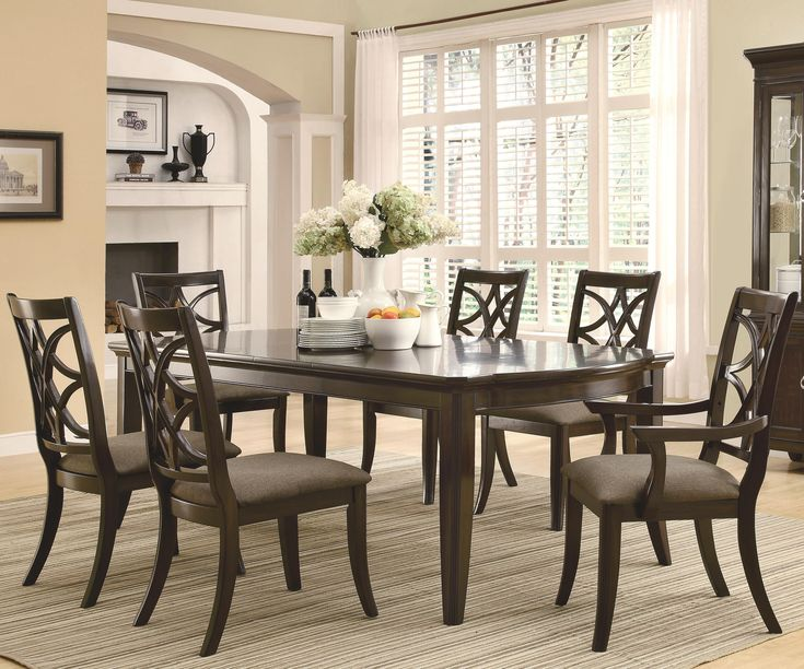 Coaster Meredith Dining Leg Table With Leaf Extensions In Espresso
