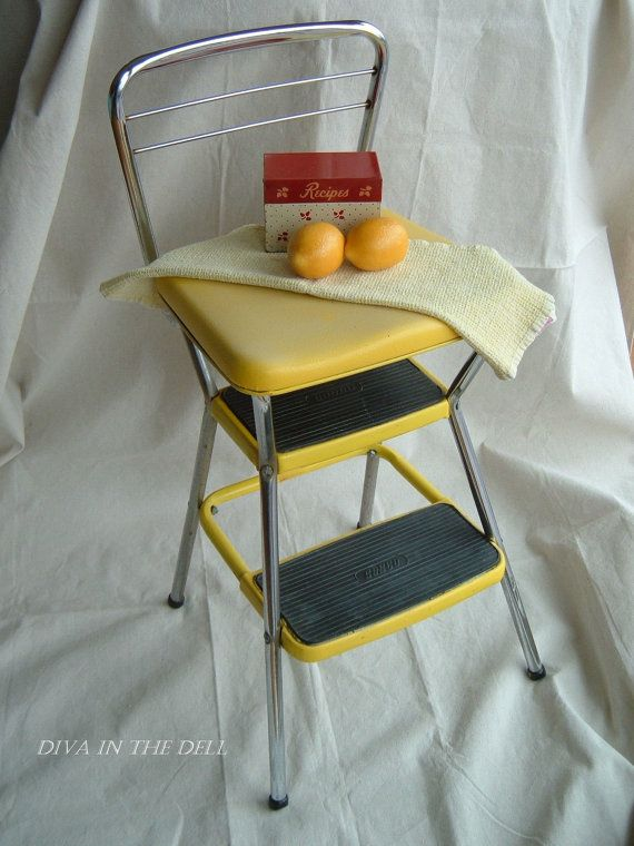 Reserved For Isy80   Vintage Lemon Yellow Cosco Kitchen Step Stool And Seat