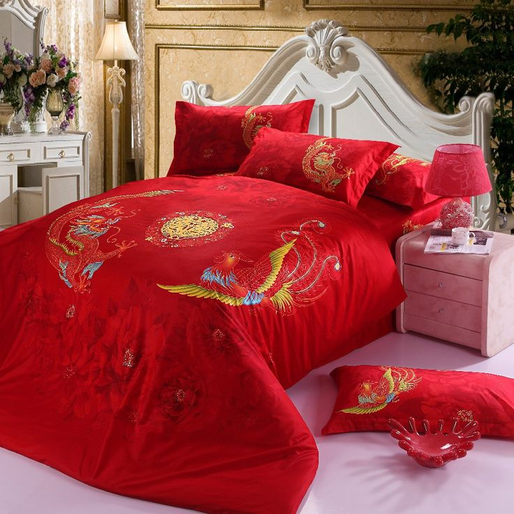 Chinese wedding Bedding Set Red Dragon Bed Linens Bed Sheet Set Bedclothes Queen Size 4 pieces Bed cover Set