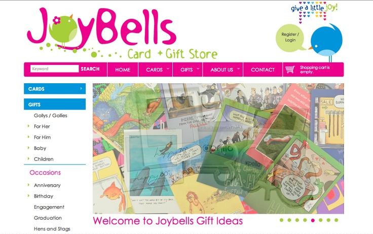 It was fun creating a unique webpage for Joy Bell. Their website offers quality, stylish, gorgeous, affordable gifts and cards, a Sunshine Coast based retailer with an online store which sells to browsers throughout Australia! — in Maroochydore.