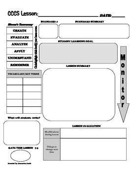 This is a template to plan any lesson. The planner utilizes the common core standards as well as Bloom's Taxonomy to plan lessons. There is also an lesson evaluation included in this template.
