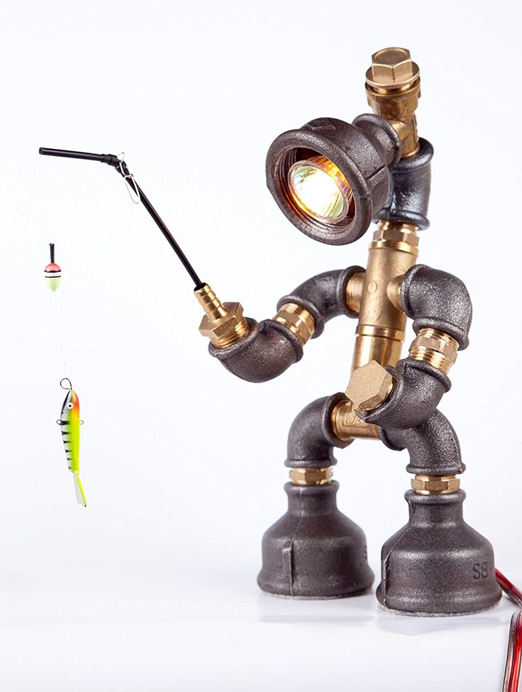 Easy2cook-Vintage- Retro Handmade- Steampunk Pipe Table Lamp- Robot Fishman - - Amazon.com