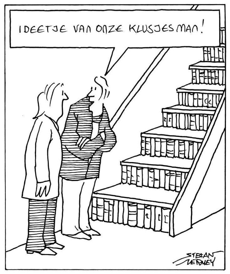 Doe ons zo'n omdenkende klusjesman! Een boekentrap, briljant.