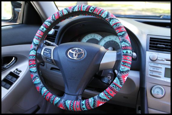 Custom Aztec Steering Wheel Cover, Padded Insulated Tribal Steering Wheel Cover, Cute Car Accessories For Women, Choose Your Pattern & Color