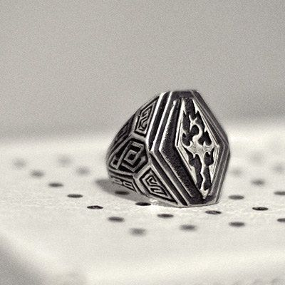 Silver ring Skyrim created based on the popular computer game The Elder Scrolls V: Skyrim. Impressive, large mens ring is designed in strict