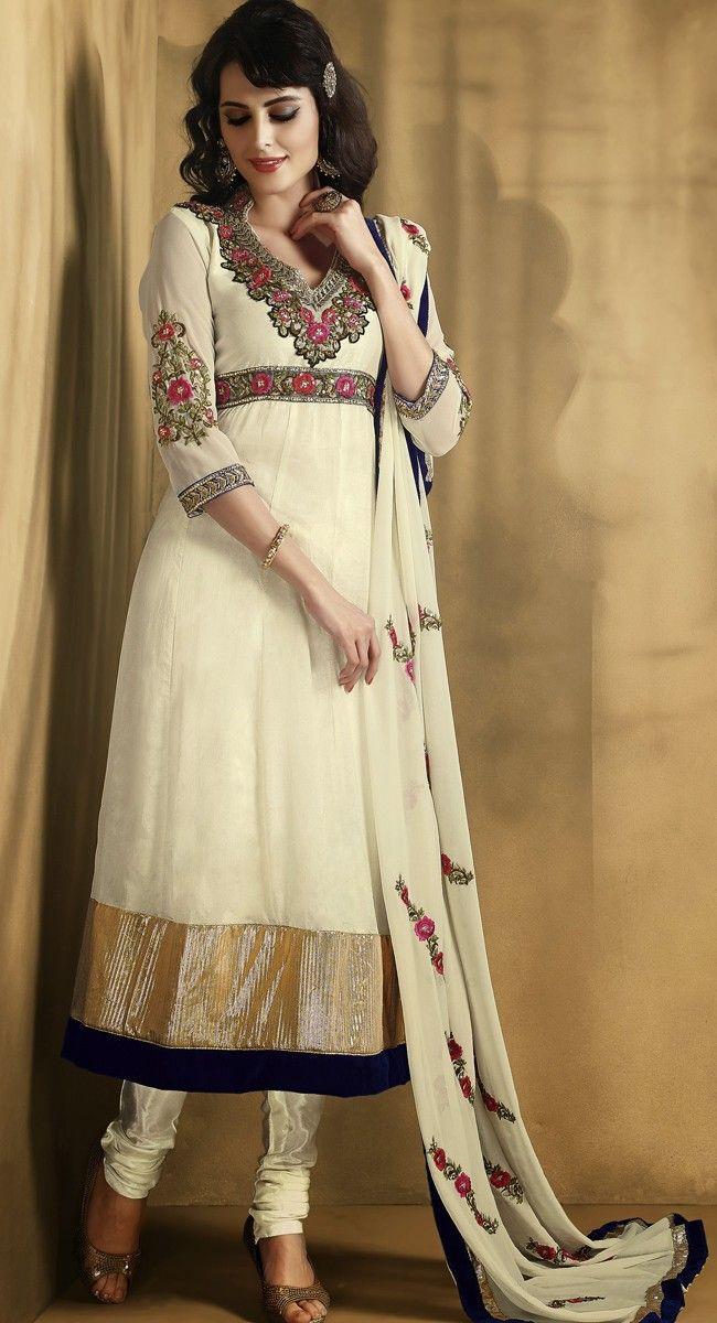 Contemporary Off White Salwar Kameez