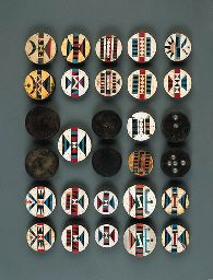 TWENTY-NINE ZULU EARPLUGS  Five pairs of amashaza plugs inlaid with geometric vinyl designs; thirteen single amashaza plugs similar to the p...