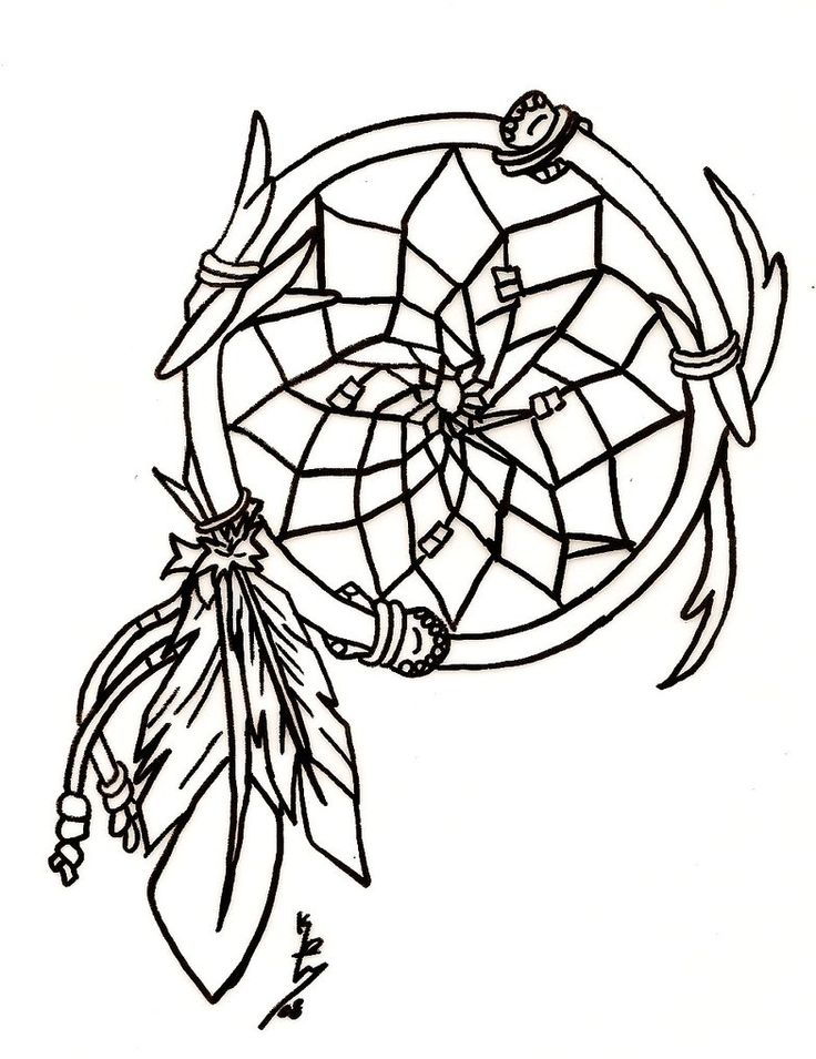 Wolf Dream Catcher Tattoo Outlines Sketch Coloring Page