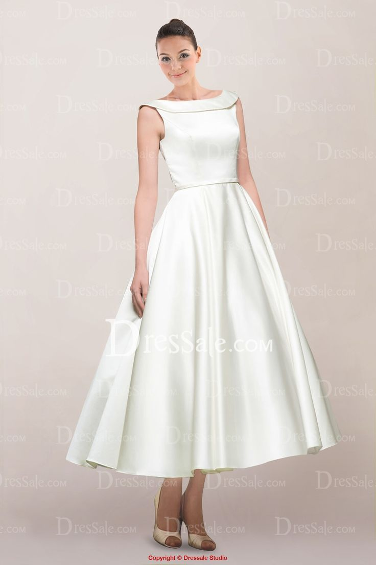 Vintage Satin Tea-length Wedding Dress with V-back and Buttons Accented