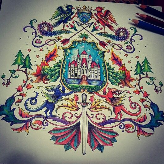 Enchanted Forest Coat Of Arms Coloring Page