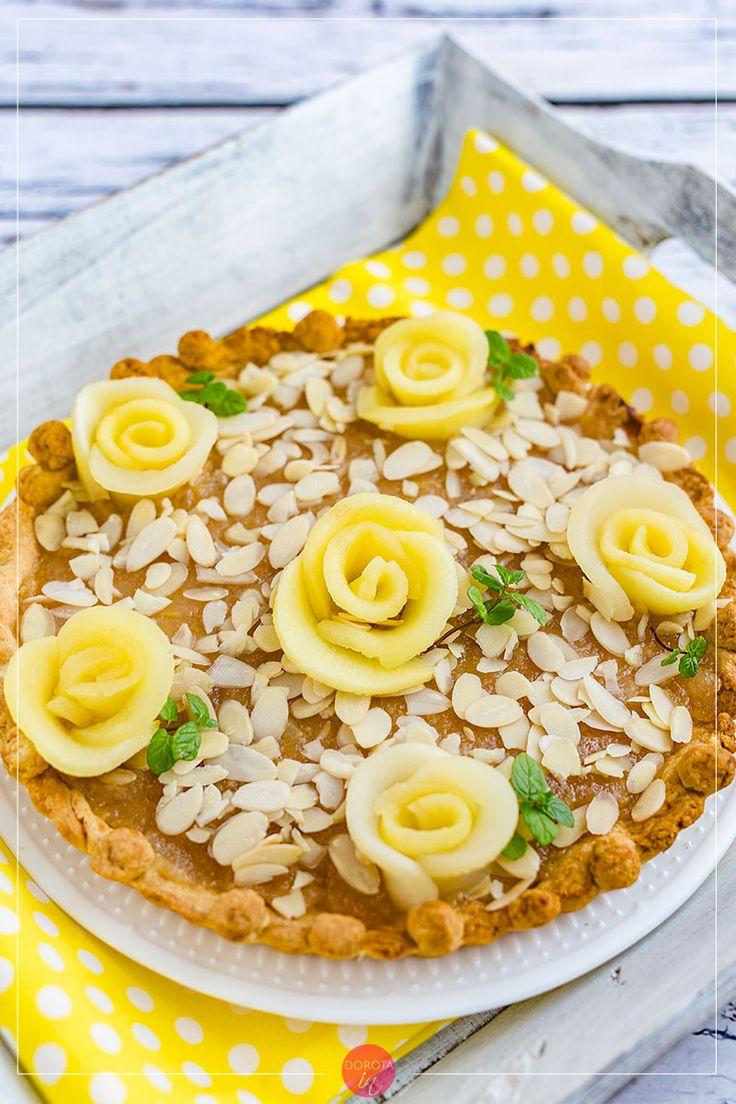 Mazurek jabłkowy - eleganckie #ciasto na #wielkanoc, wbrew pozorom to bardzo prosta dekoracja :D. #przepis #wypieki #cake #jabłka #apples