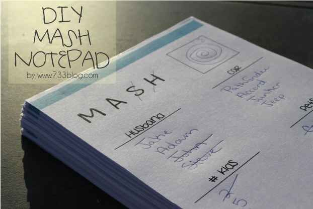 Print a whole stack of MASH sheets to play throughout the night.
