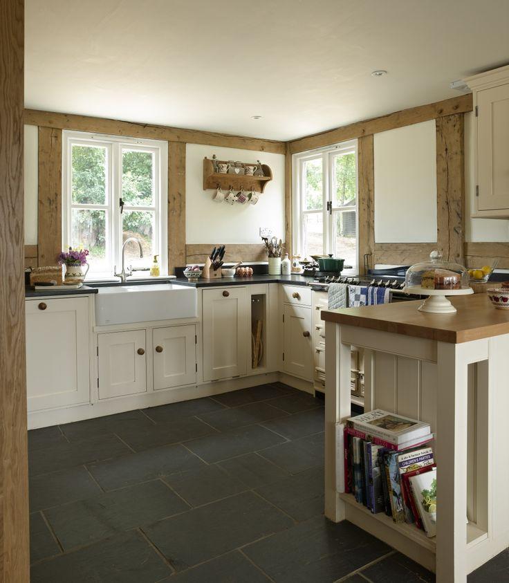 Border Oak - Traditional Painted kitchen in an oak framed Cottage.