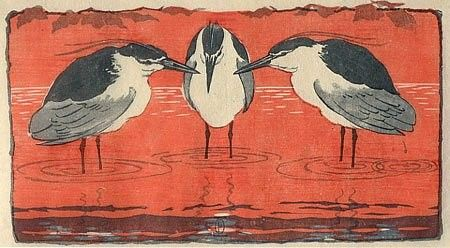 Otto Eckmann. 1868-1902. Nachtreiher (Night Herons), 1896, color woodcut, Fine Arts Museums of San Francisco