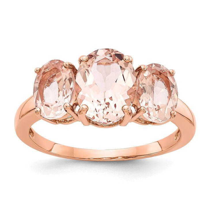 14k Rose Gold 3 Stone Oval Morganite Ring – Sparkle & Jade