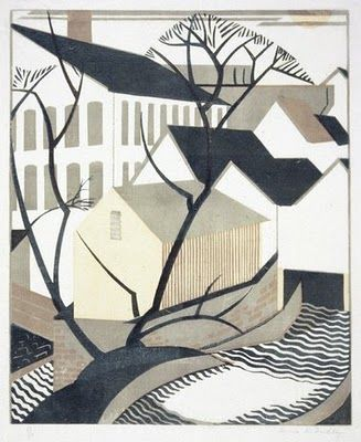 Scottish printmaker Anna Findlay (1885 - 1968) linocut