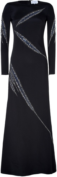 EMILIO PUCCI Black Long-sleeves evening gown with sparkling crystal asymmetrical embellishment