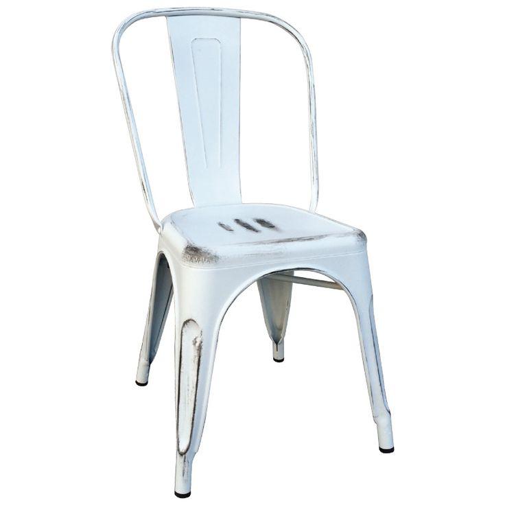 """Καρέκλα """"RELIX"""" από μεταλλικό σκελετό σε χρώμα λευκό αντικέ."""