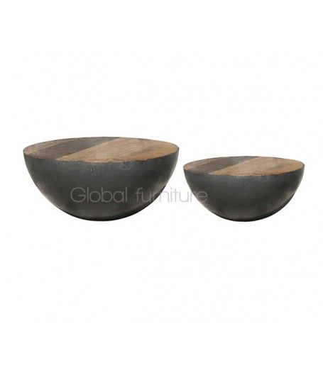 Bowl salontafel set van 2 metaal/wit Gezien bij NOS studio Brasil !!