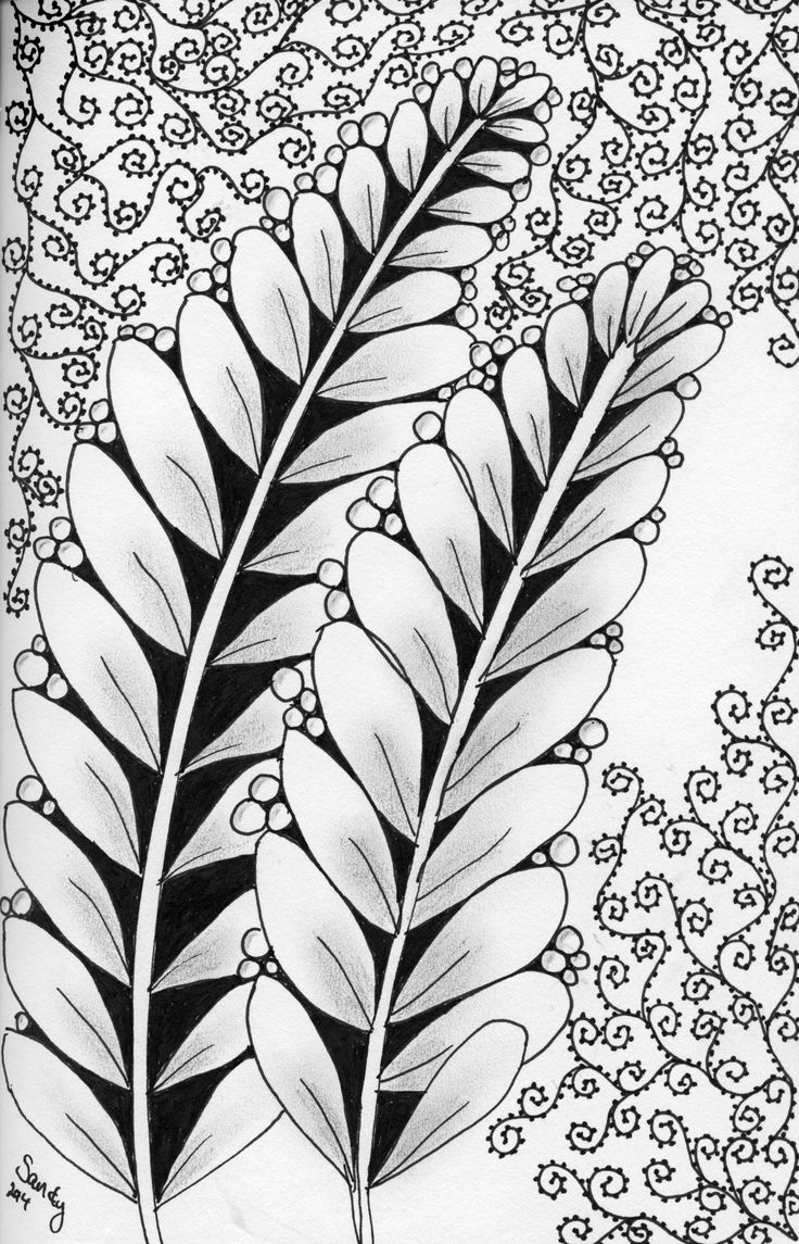Leaves and Swirls Zentangle design by Sandy Rosenvinge Lundbye.