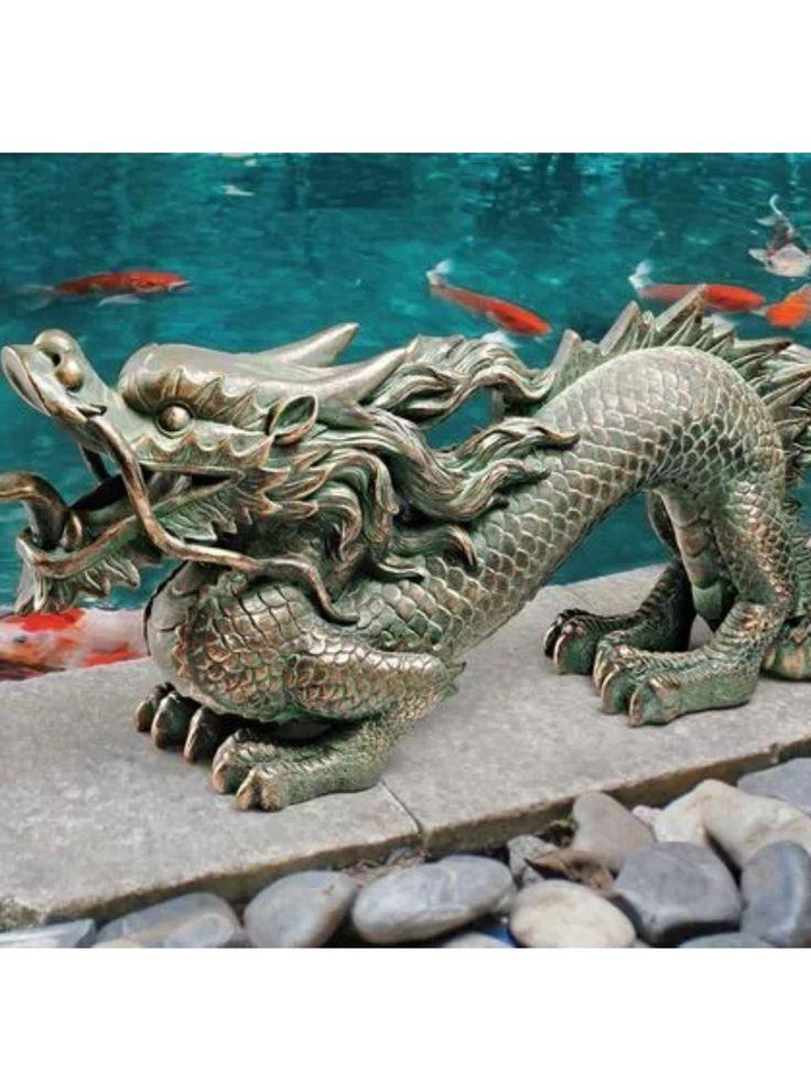 Chinese dragon ornament garden statue koi goldfish pond for Garden pond ornaments uk