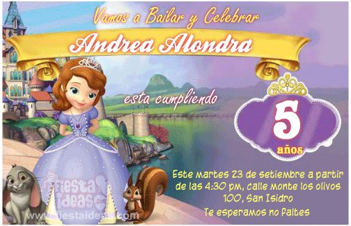 Diseño de invitaciones personalizadas de la princesa sofia