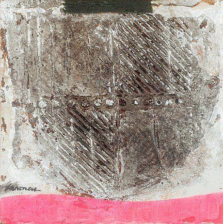 Ahti Lavonen: Hpeateema, sekatekniikka, 39x39 cm - Bukowskis