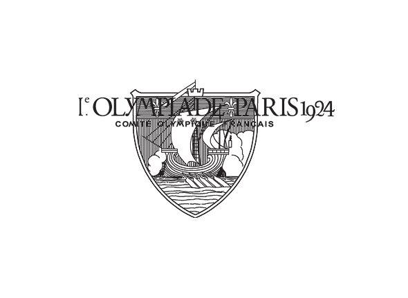 """Logotipo de las primeras olimpiadas París 1924. Escudo monocrómo, que contiene la ilustración de una galera con las velas desplegadas y la leyenda """"I. Olimpiadas de París 1924 - Comité Olímpico Francés"""" superpuesta sobre dicho escudo. Sin poder confirmarlo, suponemos que se trata de una interpretación del histórico escudo heráldico de la ciudad de París (que se configura con la imagen del barco """"Scilicet"""", símbolo de la Antigua Cofradía de los Marchantes del Agua)"""