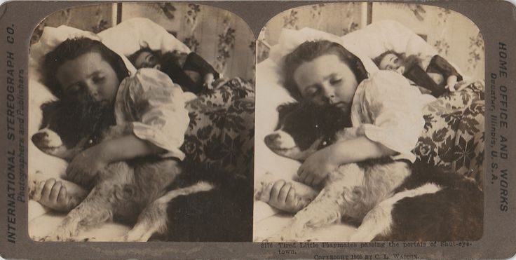 Victorian Photo / Title: Tired Little Playmates passing the portals of Shut-eye-town / Original Print / Signed: C. L. Wasson / Date of Creation: 1905 / Photo Type:Stereoview / Color: Black & White / Region of Origin:U.S.