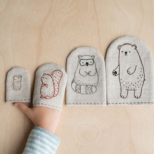 The cuteness! Make these Woodland Finger Puppets by @molliejohanson with instructions in Making / FAUNA. Read an interview with Mollie on the Making blog today! . . . #makingzine #embroiderypattern #molliejohanson #kidscraft