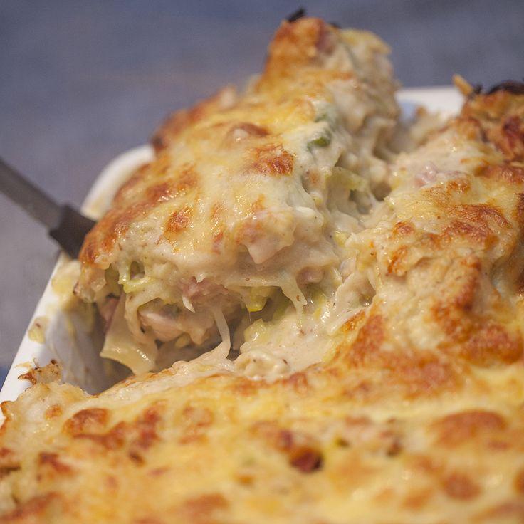 Prei, kip & mosterd lasagne