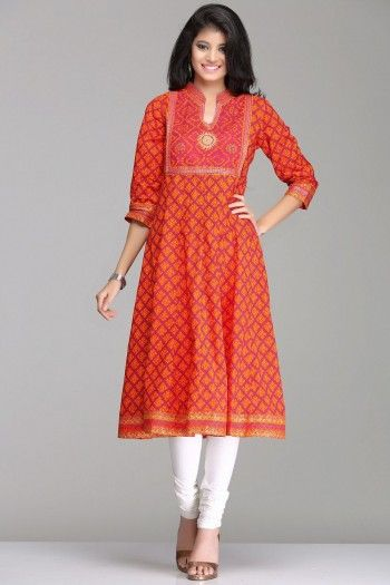 Vibrant Orange & Dark Pink Anarkali Cotton Kurta By Farida Gupta
