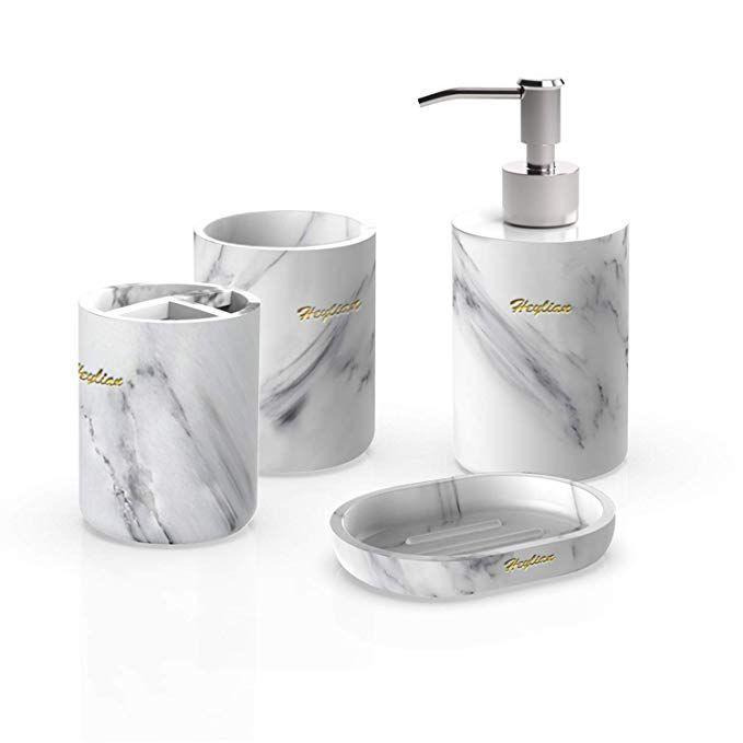 Heylian Bathroom Accessories Set White Marble Tumbler Soap Dish Liquid Soap Dispenser Toothbrush Hol Soap Dispenser Bathroom Accessories Sets Brushing Teeth