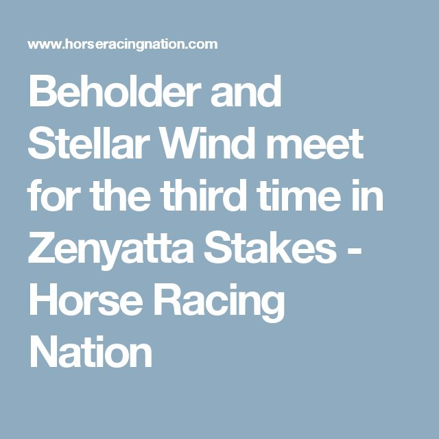 Beholder and Stellar Wind meet for the third time in Zenyatta Stakes - Horse Racing Nation