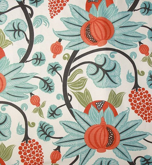 Maharani Linen Fabric A Pomegrante Trail Design In Turquoise Charcoal And  Orange, Printed On An