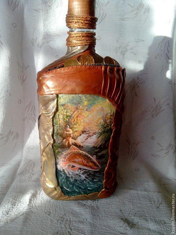 Купить Бутылка Охотнику-Рыбаку - подарок мужчине, охота, рыбалка, Бутылка…