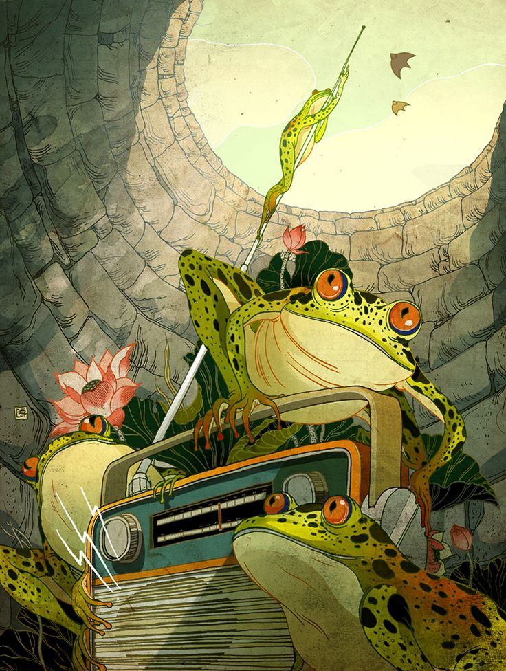 radio frogs - victor nagai http://www.pinterest.com/000Zaza000/frog-prince/
