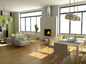1. Bamboo flooring instead of carpet  2. Many windows to provide natural light  3. Fire place to help heat house