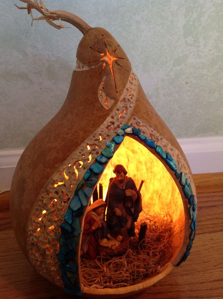 Nativity gourd lit up
