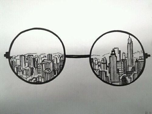 "drawing idea, with a corrupt, damaged, war-ridden city behind it. ""Behind the lense"" Could also do with camera and Photoshop instead of glasses                                                                                                                                                      More"