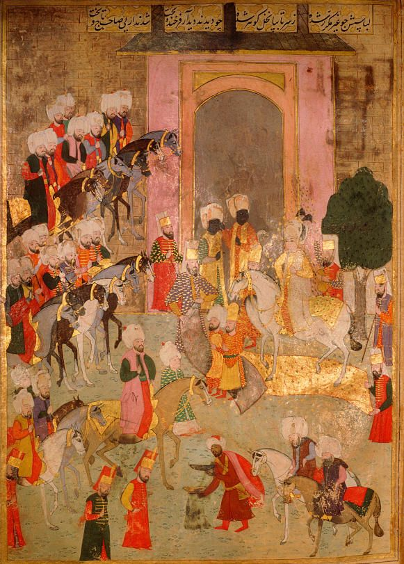 Circumcision ceremonies of the future Mehmed III, in 1582-The departure of the prince's party from the Eski Saray (old palace), to the Hippodrome-Şehinşahname written by Seyyid Lokman, 1595-7, illustrated by Nakkas 'Osman
