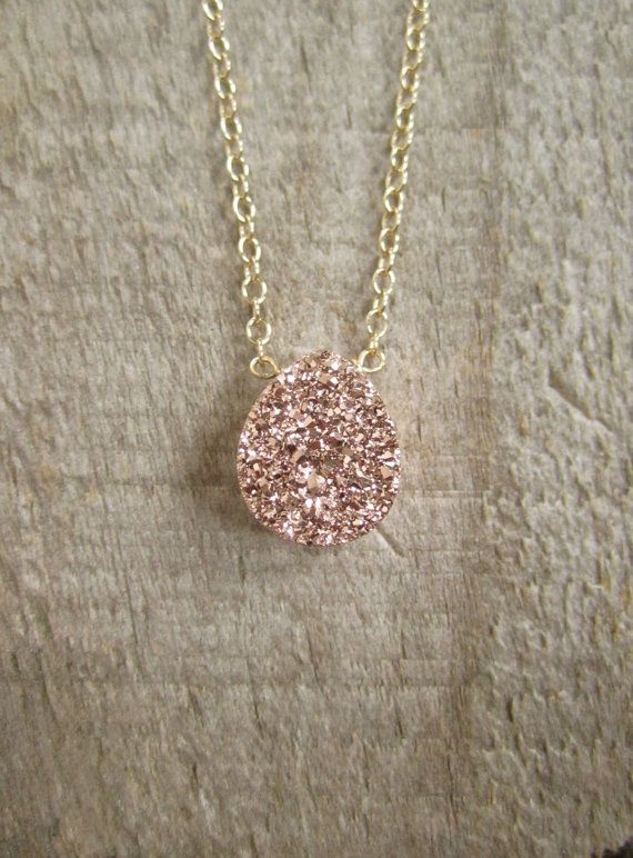 Rose Gold Druzy Necklace Titanium Drusy Quartz by julianneblumlo
