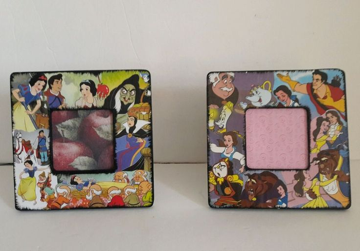 """Unique Hand-Made One of a kind Snow White Collage 4""""x4"""" Picture Frame and 4"""" x4"""" Beauty and the Beast Picture Frame. The frames are 8"""" x 8"""" and hold 4"""" x 4"""" photos. THERE IS NO GLASS OR PLASTIC PHOTO COVER,SO IT'S VERY KID ROOM FRIENDLY! Just open prongs on back,use template to cut a photo down to 4""""x 4"""",and enclose back into prongs and backing.Pegs make it easy to adjust angle height you want them displayed!   eBay!"""