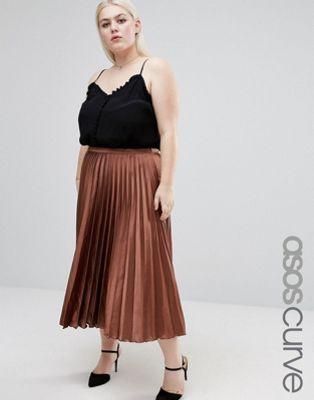 ASOS CURVE Midi Skirt in Pleated Satin