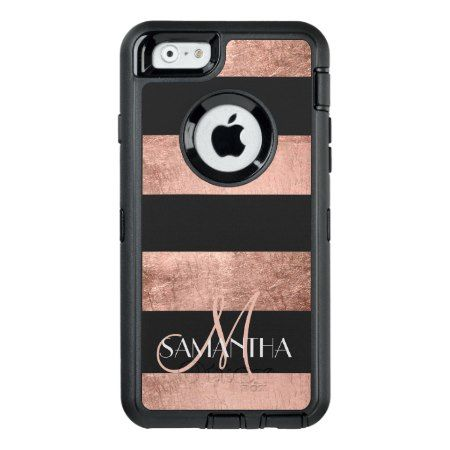 Modern rose gold stripes stylish personalized OtterBox defender iPhone case - tap to personalize and get yours